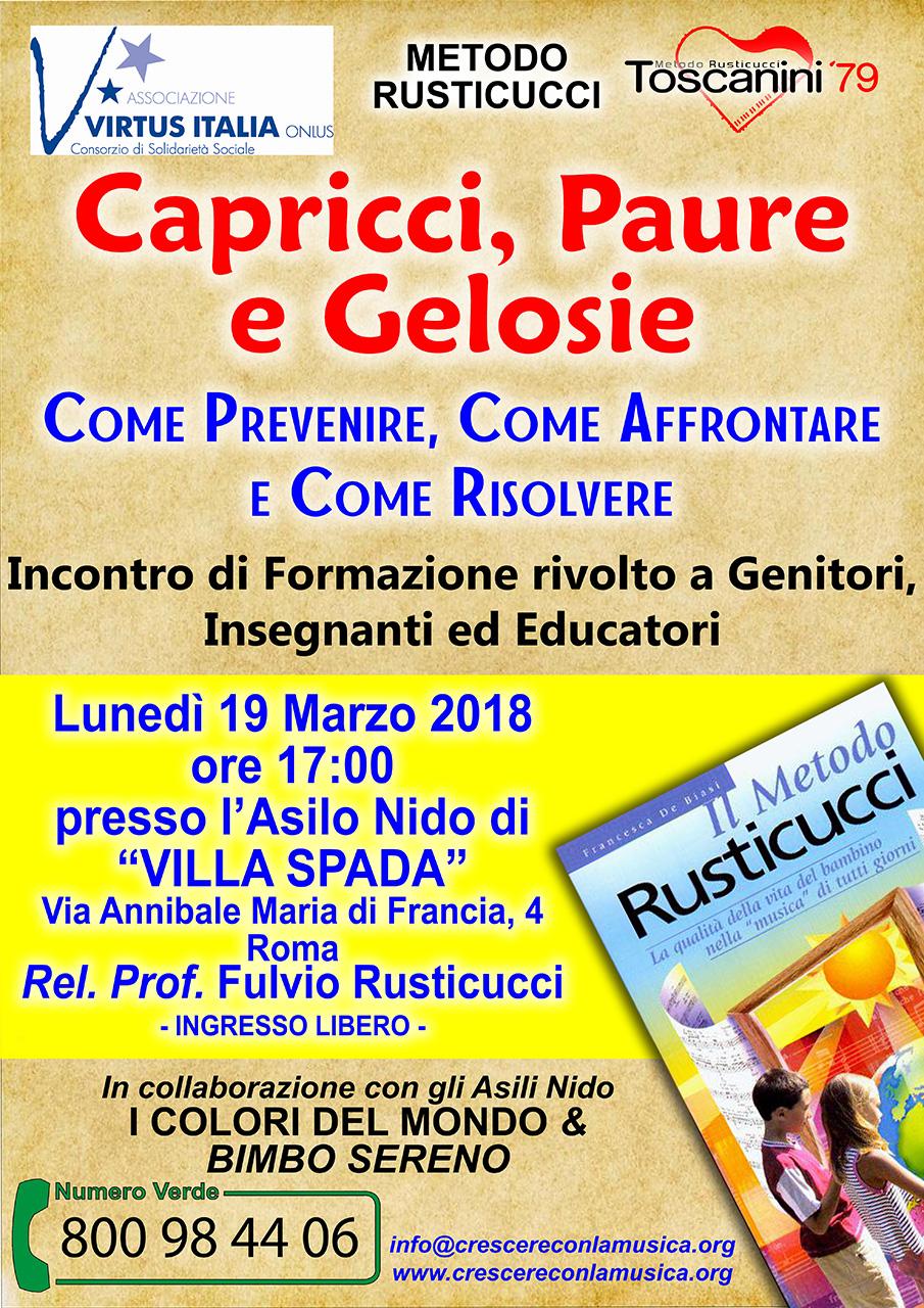"""Corso di Formazione: """"Capricci, paure e gelosie"""" – Roma (19/03/2018)"""