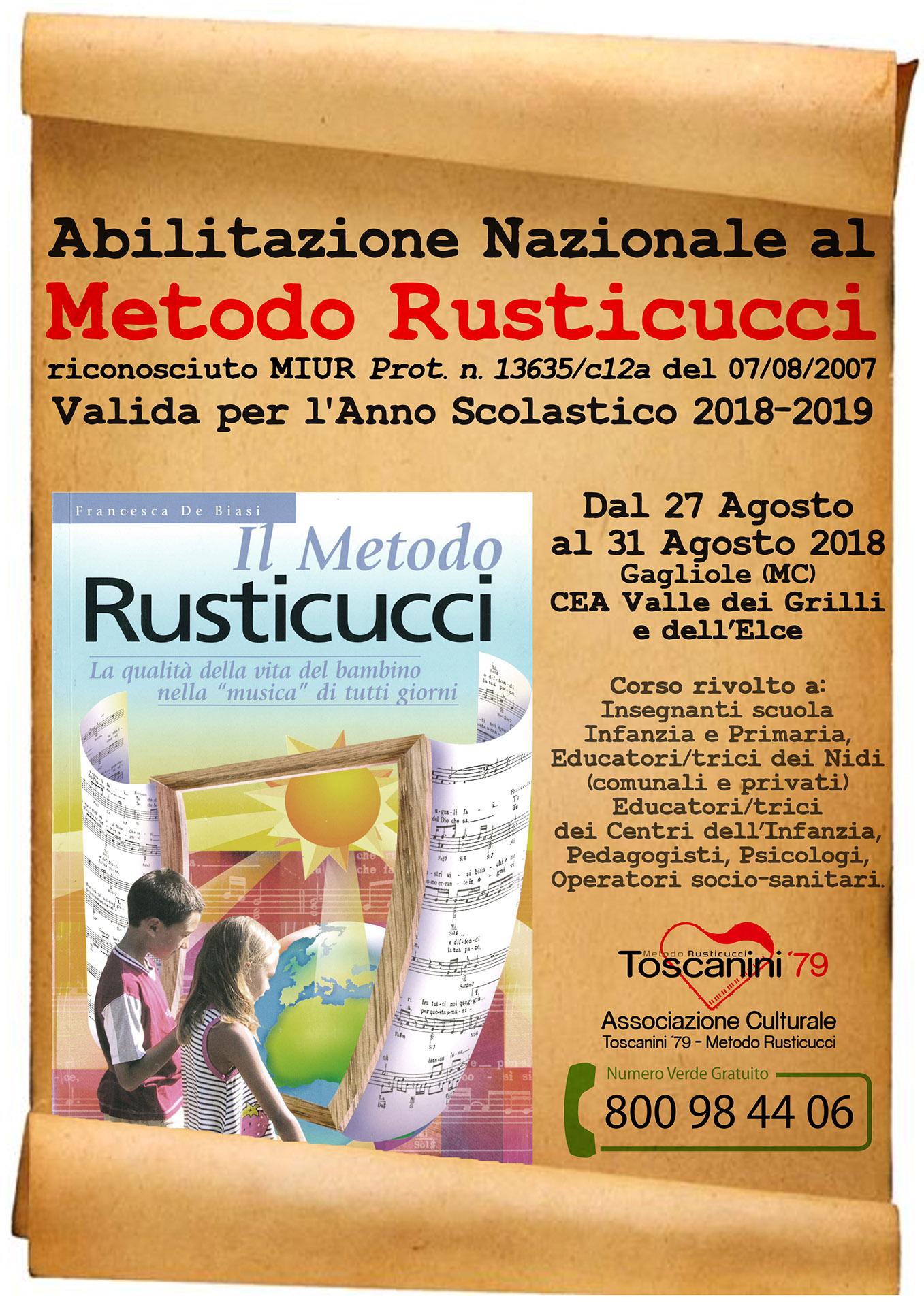 Abilitazione Nazionale al Metodo Rusticucci – Gagliole (27-31 agosto 2018)