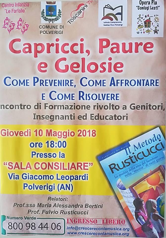 """Corso di Formazione: """"Capricci, paure e gelosie"""" – Polverigi (10/05/2018)"""