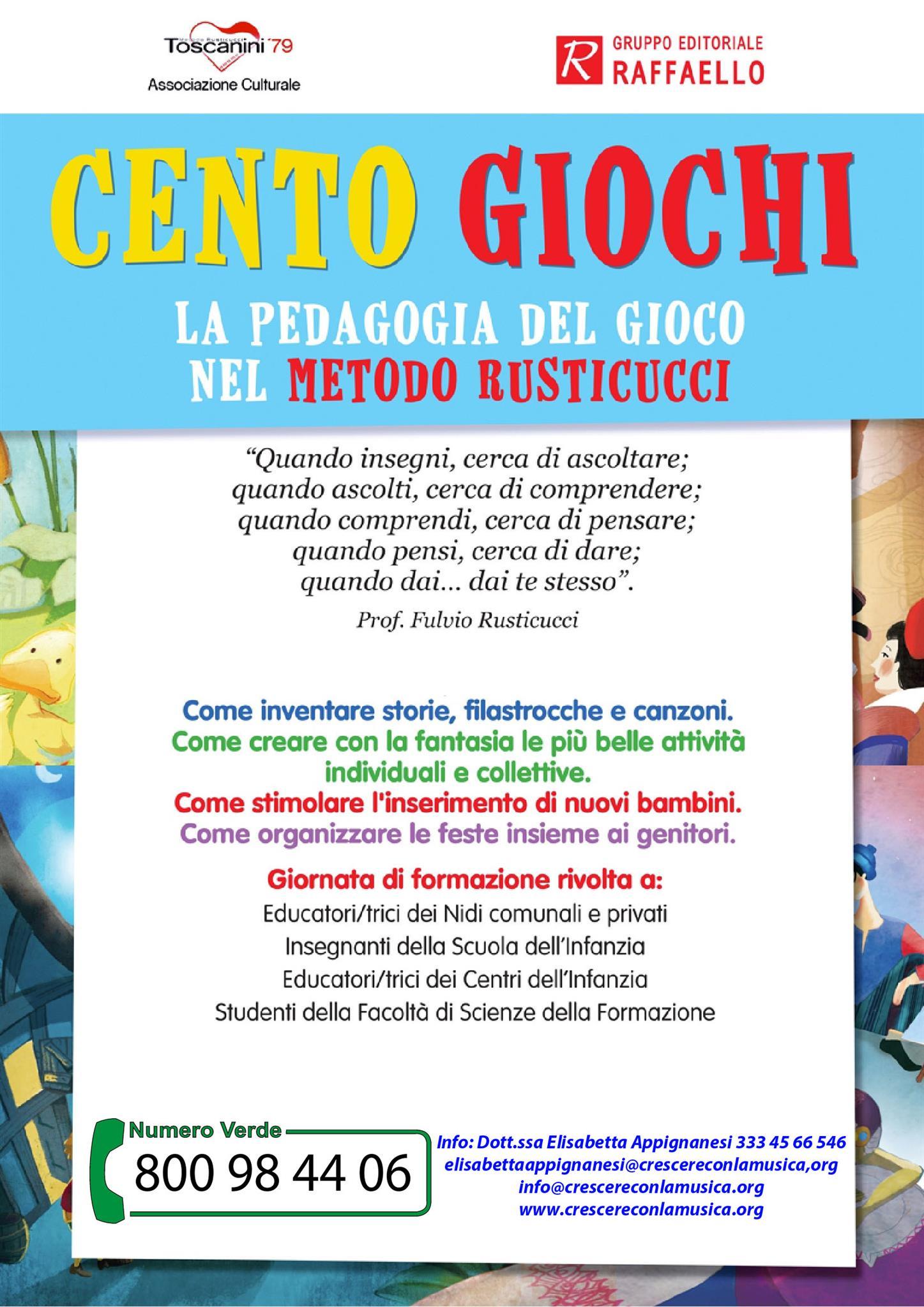 """Giornata di Formazione: """"CentoGiochi: La pedagogia del gioco nel Metodo Rusticucci"""" – Terni (20/10/2018)"""
