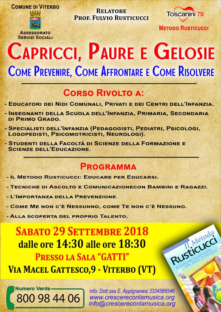 """Corso di Formazione: """"Capricci, paure e gelosie"""" – Viterbo (29/09/2018)"""